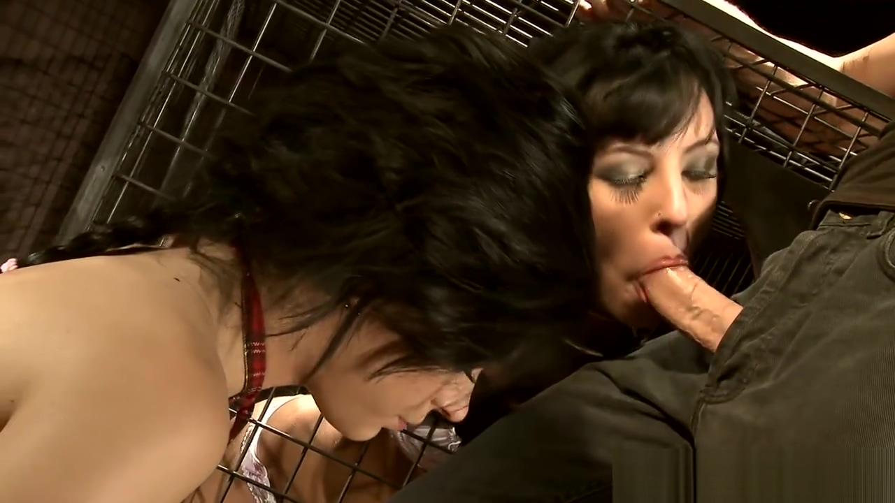 Caged Sex Slave Gobbles Cock In Threeway