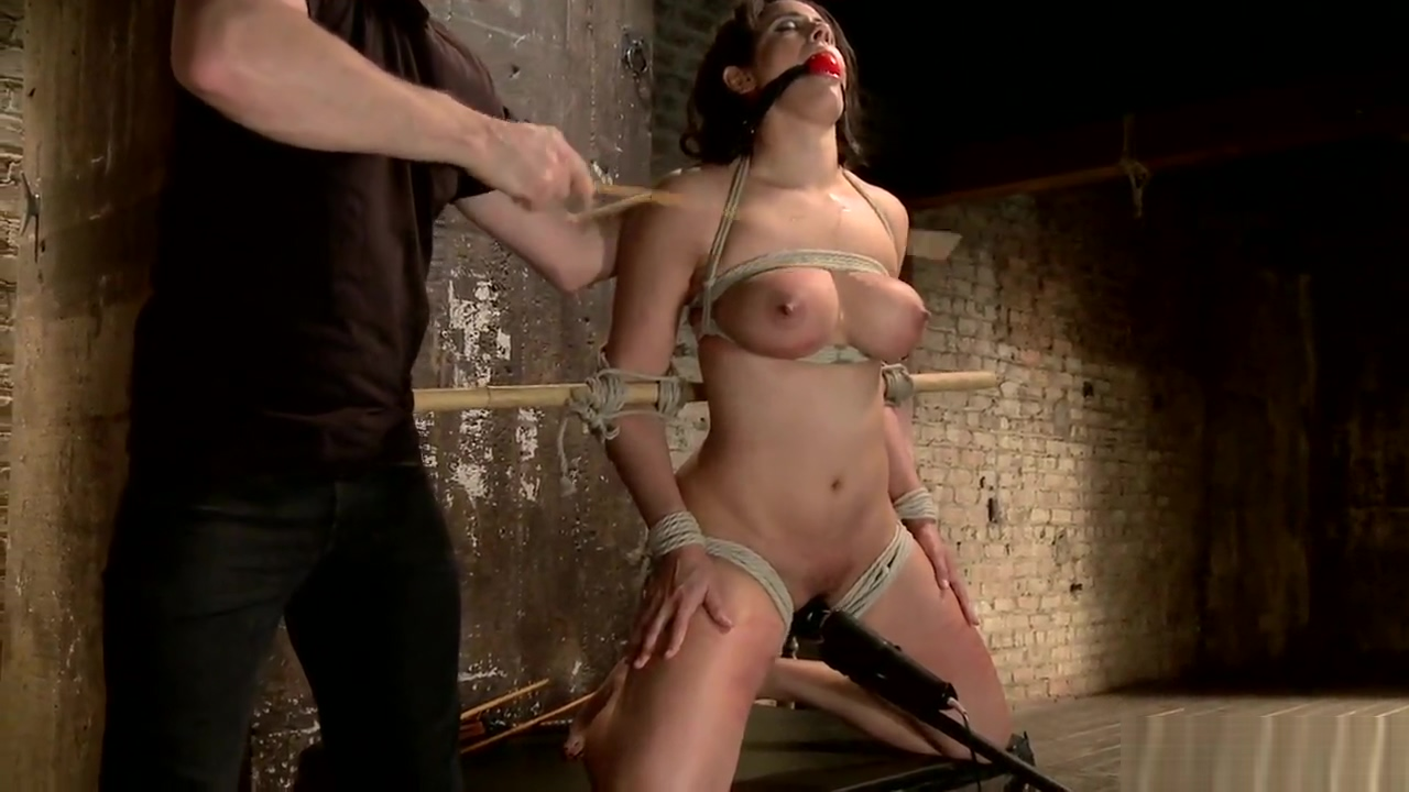 Curved slave dp toyed on hogtie