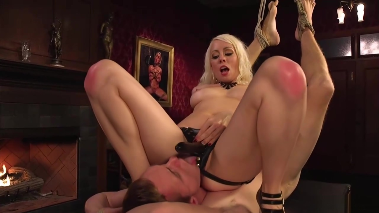 Busty blonde dom rides face to slave