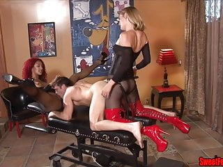 Ass Fucking Punishment FEMDOM STRAPON PEGGING FISHNETS