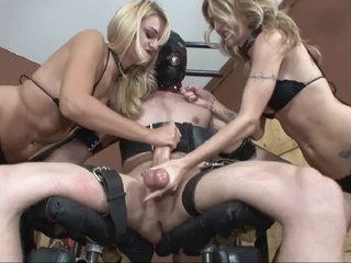 Blonde dominatrices torture their sissy thrall